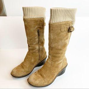 UGG Skyfall wedge suede knit boots sheepskin